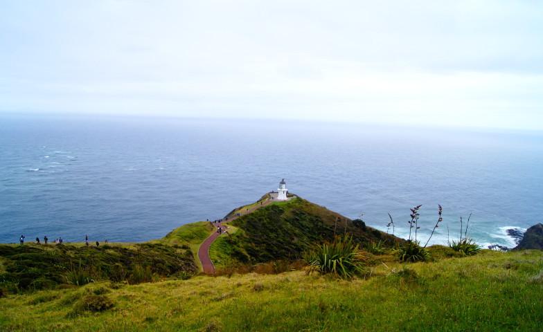 Blick auf den Leuchtturm am Cape Reinga