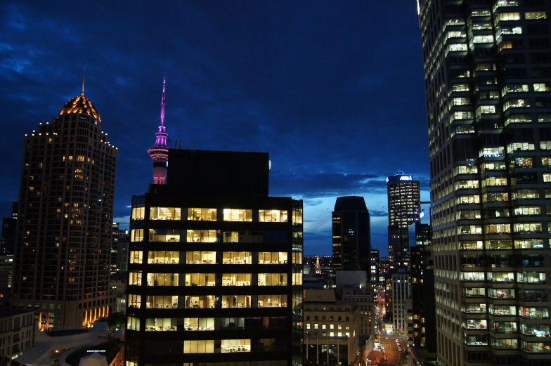 Auckland bei Nacht Ausblick