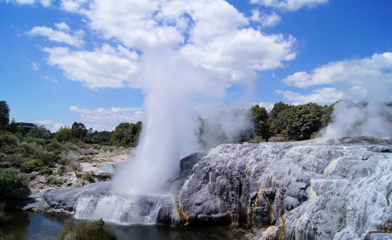 Der größte Geysir in Neuseeland ist in Rotorua Te Puia zu sehen