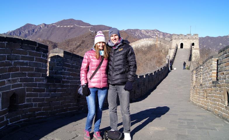 Fotostopp auf der chinesischen Mauer ohne Touristen Peking