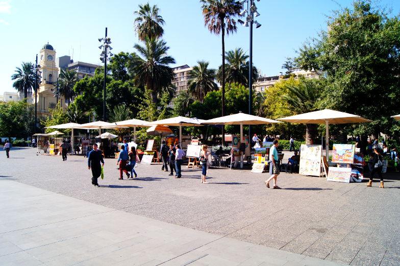 Haendler auf dem Plaza de Armas in Santiago de Chile