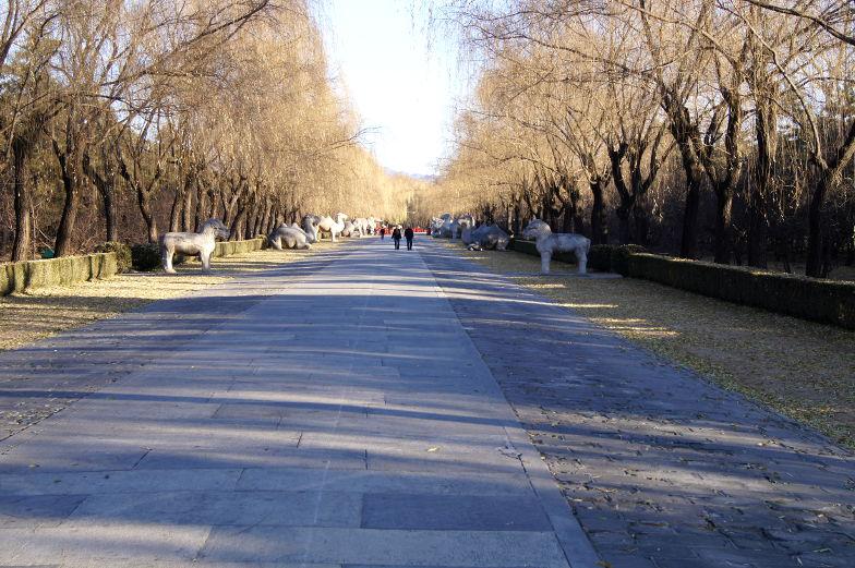 Tagestour Sacred Way hat zu beiden Seiten immer paarweise chinesische Statuen aufgereiht Peking