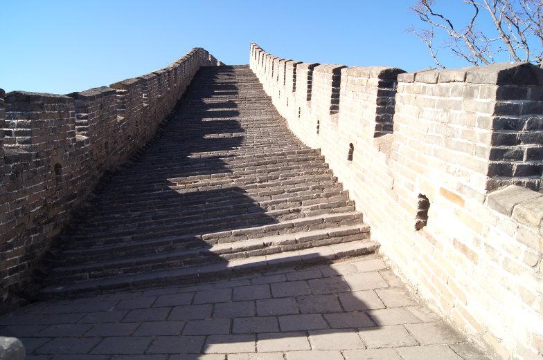 Schiefe Treppen Chinesische Mauer Mutianyu Peking
