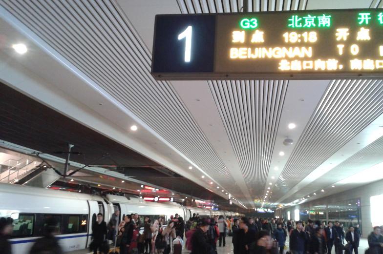 Ausstieg aus dem Schnellzug Peking