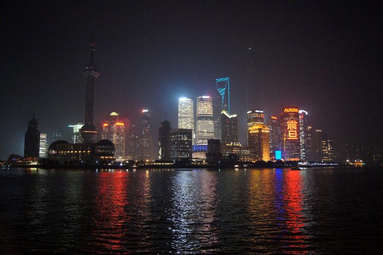 Bester Ausblick auf Shanghai bei Nacht