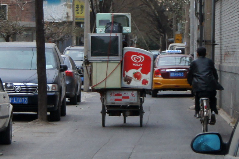 Voll beladenes Fahrrad in Peking