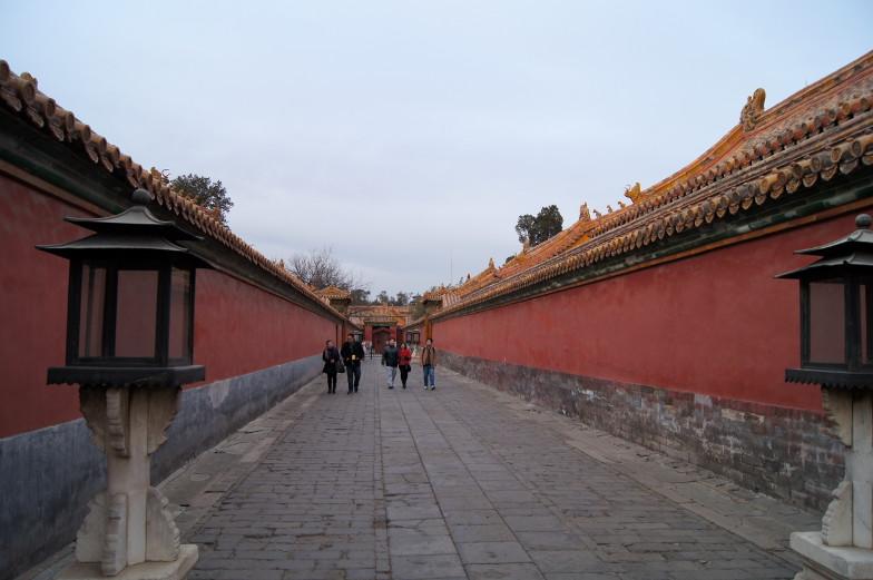 Hohe Mauern in der verbotenen Stadt Peking Sehenswuerdigkeiten
