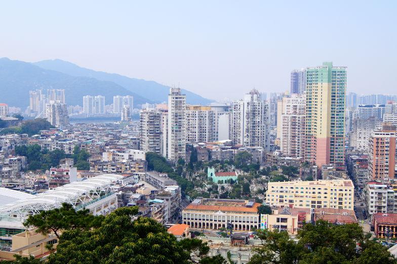 Blick af das Wohngebiet in Macau vom Guia Fortress