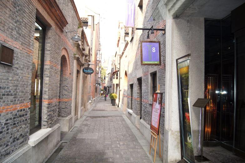 Sehenswuerdigkeiten franzoesiches Viertel mit kleinen Gassen in Shanghai