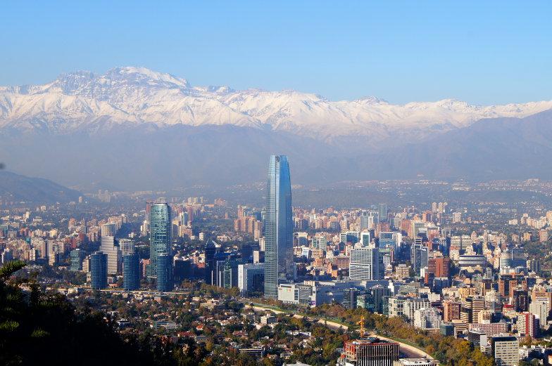 Cerro San Cristobal Ausblick auf Costanera Santiago de Chile