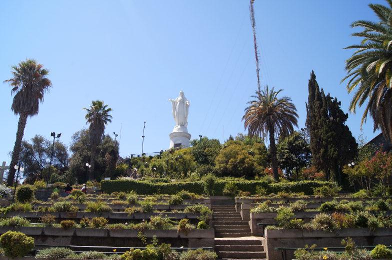 Cerro San Cristobal Marienfigur Ausblick Santiago