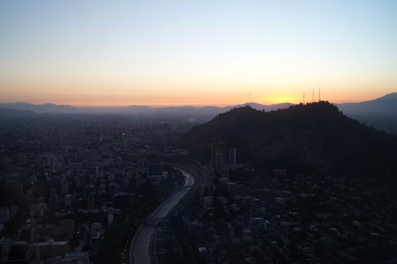 Costanera Sonnenuntergang bester Ausblick Santiago de chile