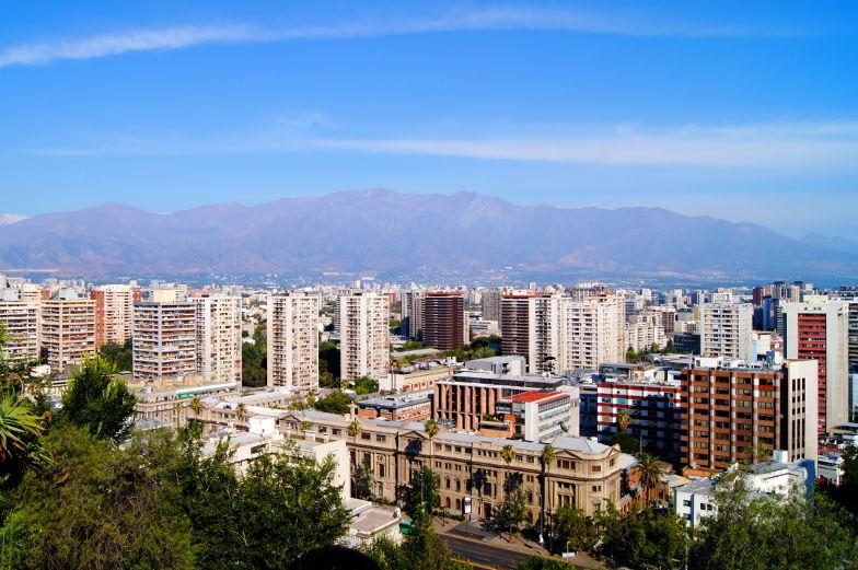 Santa Lucia Blcik auf Berge und die Anden Santiago Chile