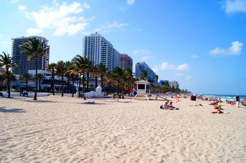 Langer Sandstrand mit viel Platz und Palmen in Fort Lauderdale