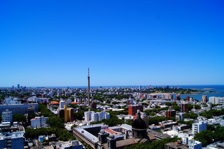 Kostenlose Ausblick Aussichtsterasse im Rathausgebäude Palacio Municipal Montevideo