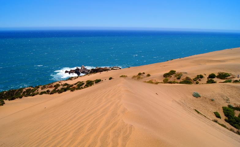 Wunderschoene Aussicht auf den Pazifik von der heochsten Duene von Concon