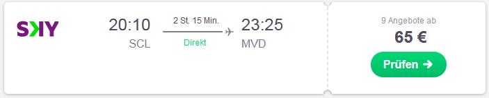 Flug von Snatiago nach Montevideo suchen