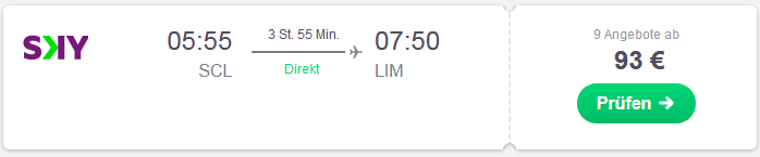 Flug von Santiago nach Lima suchen