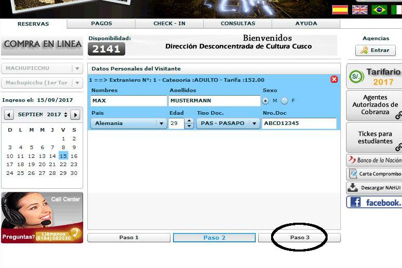 Fuelle das Machu Picchu Ticketformular aus