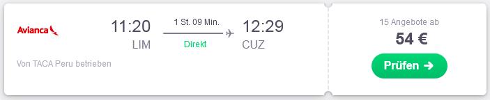 Flug von Lima nach Cusco suchen