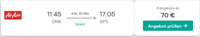 Flugtipp guenstig von Bangkok nach Bali fliegen