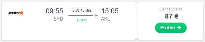 Flugstrecke Sydney nach Auckland
