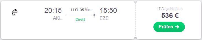 Direktflug von Neuseeland nach Buenos Aires