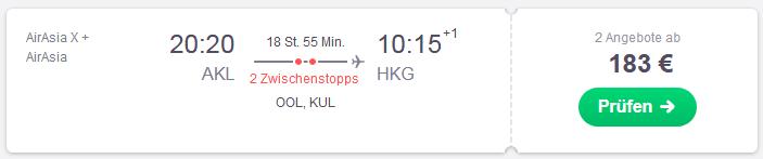 Mit Billigairlines von Auckland günstig nach Hongkong fliegen