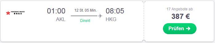 Direkte Flugroute von Auckland nach Hongkong