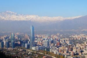 Blick auf dien Anden und Santiago de Chile