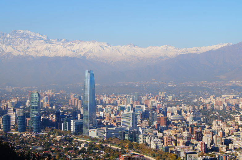 Cerro Cristobal Blick auf die Anden und Santiago de Chile