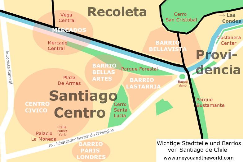 Stadtkarte von Santiago de Chile mit seinen wichtigen Stadtteilen und Barrios