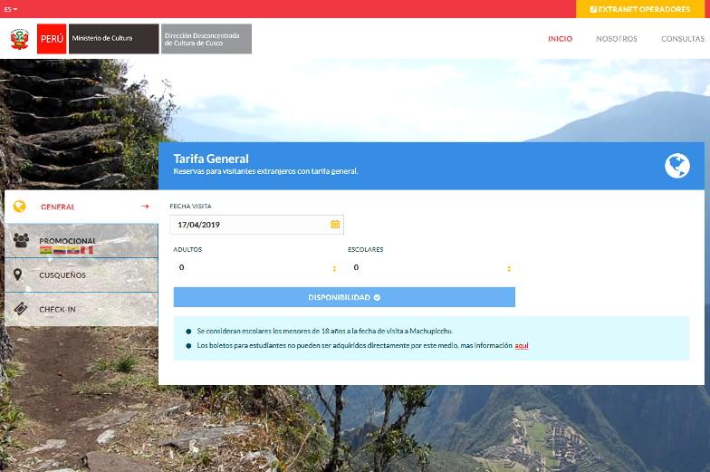 Offizielle Ticketseite Machu Picchu