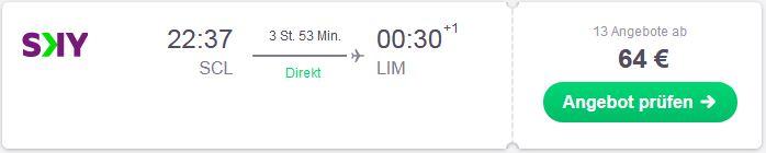 Guenstig von Santiago nach Lima fliegen