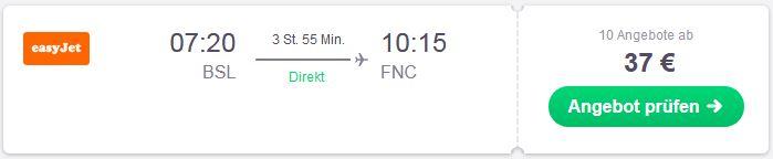 Von der Schweiz mit easyjet nach Funchal fliegen