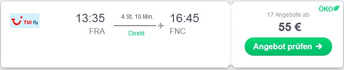 Von Deutschland nach Funchal fliegen mit TuiFly