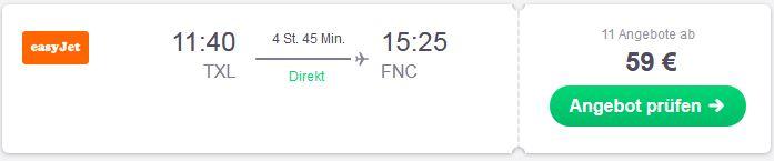 Von Berlin nach Funchal fliegen