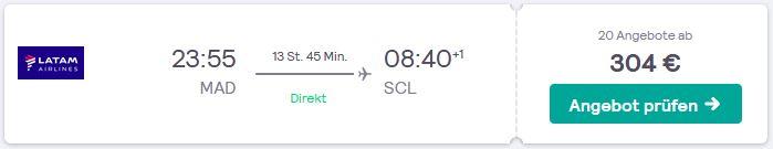 Flugtipp von Madrid direkt nach Chile fliegen