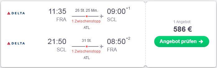 Flugtipp mit Delta gehts von Frankfurt ueber Atlanta nach Chile