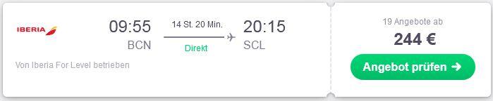 Guenstiger Direktflug von Barcelona nach Santiago de Chile