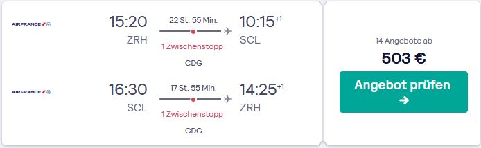 Mit AirFrankce von Zuerich via Paris nach Santiago de Chile