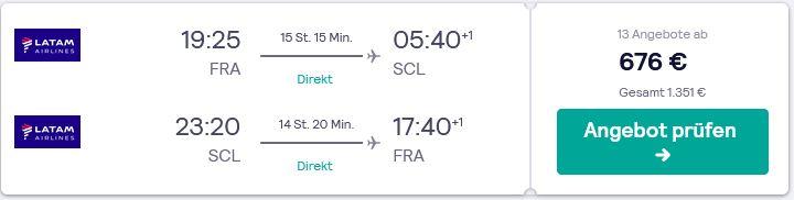 Direktflug von Deutschland nach Chile