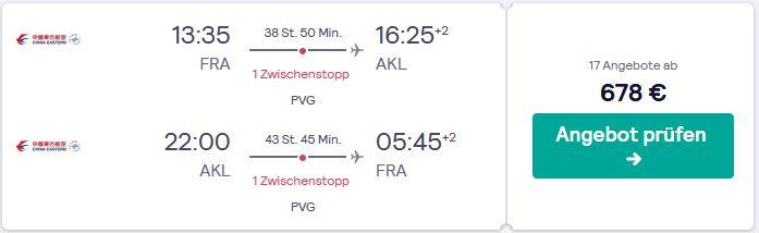 Flugangebot von Deutschland nach Neuseeland