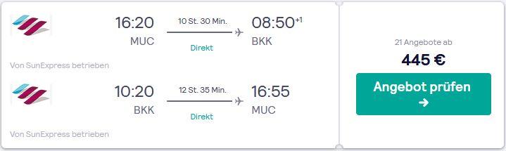 Flugreise nach Thailand